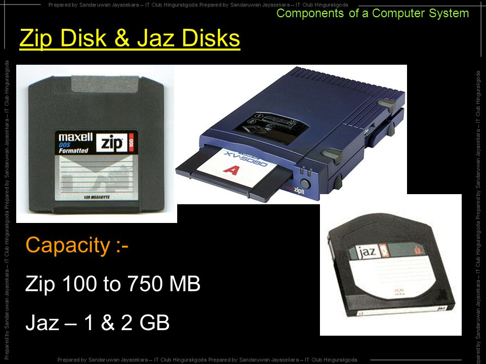 Components of a Computer System Zip Disk & Jaz Disks Capacity :- Zip 100 to 750 MB Jaz – 1 & 2 GB