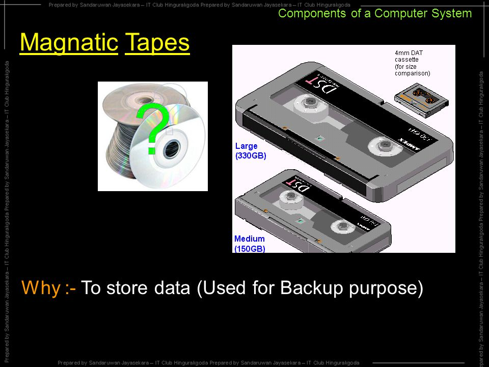 Components of a Computer System Magnatic Tapes Why :- To store data (Used for Backup purpose)