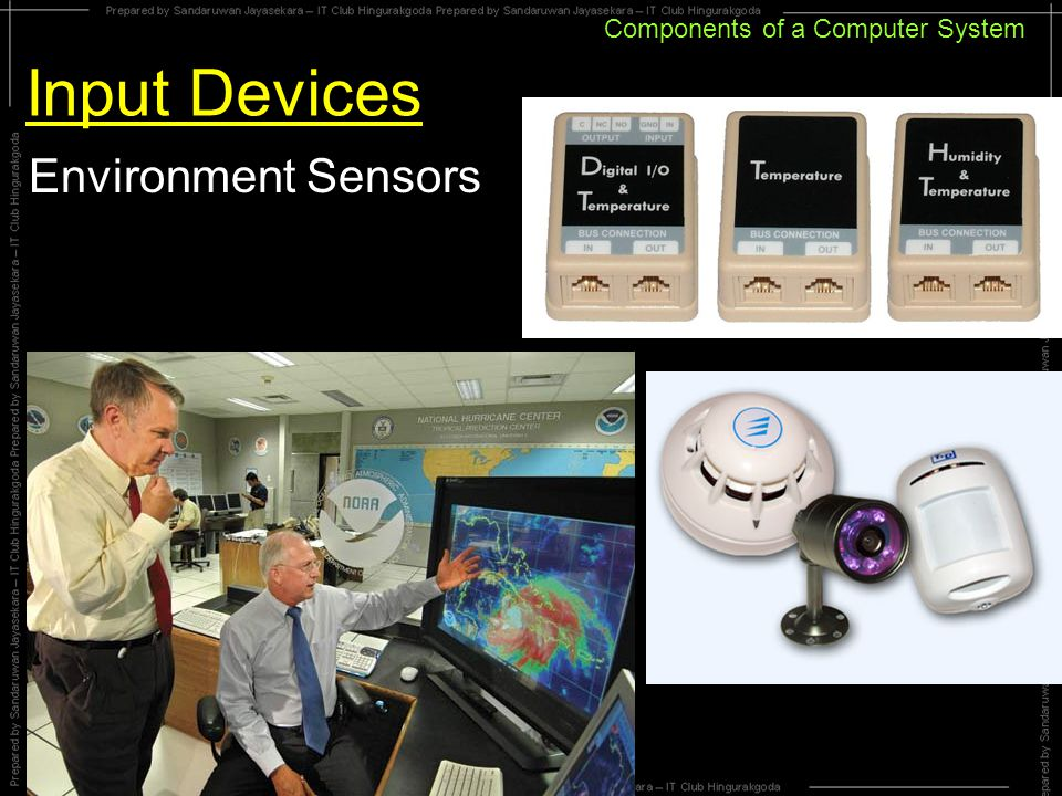 Components of a Computer System Input Devices Environment Sensors