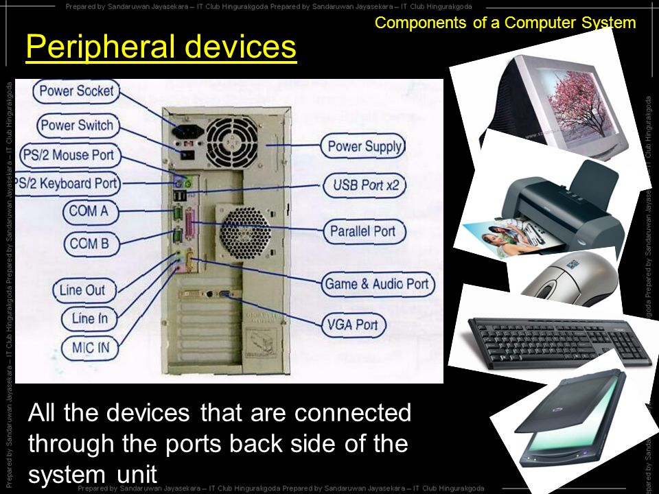 Components of a Computer System Connecting Devices to ports Serial Port