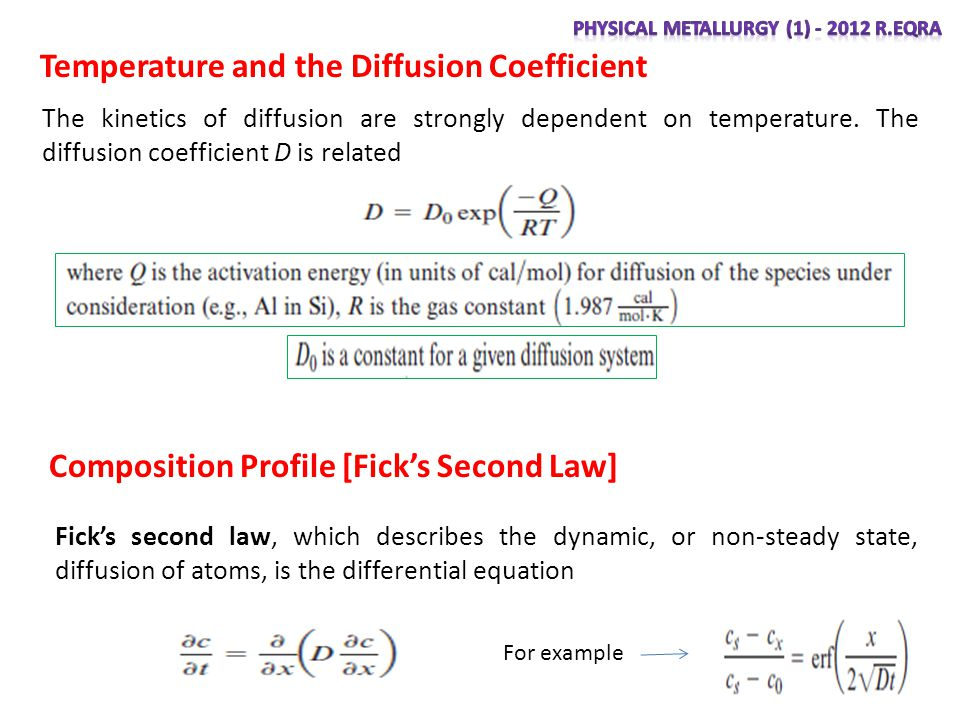 Composition Profile [Ficks Second Law] Ficks second law, which describes the dynamic, or non-steady state, diffusion of atoms, is the differential equation Temperature and the Diffusion Coefficient The kinetics of diffusion are strongly dependent on temperature.