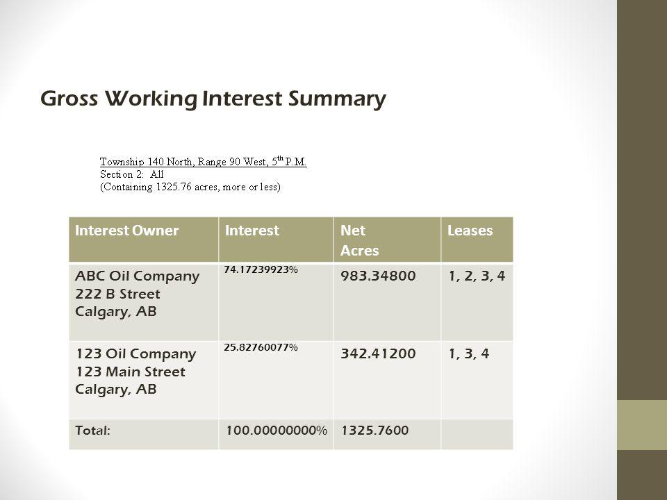 Gross Working Interest Summary Interest OwnerInterestNet Acres Leases ABC Oil Company 222 B Street Calgary, AB 74.17239923% 983.348001, 2, 3, 4 123 Oil Company 123 Main Street Calgary, AB 25.82760077% 342.412001, 3, 4 Total:100.00000000%1325.7600