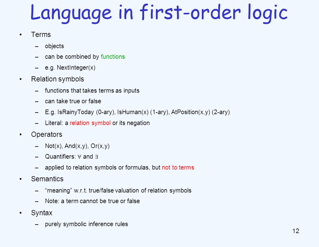 Terms –objects –can be combined by functions –e.g. NextInteger(x) Relation symbols –functions that takes terms as inputs –can take true or false –E.g.