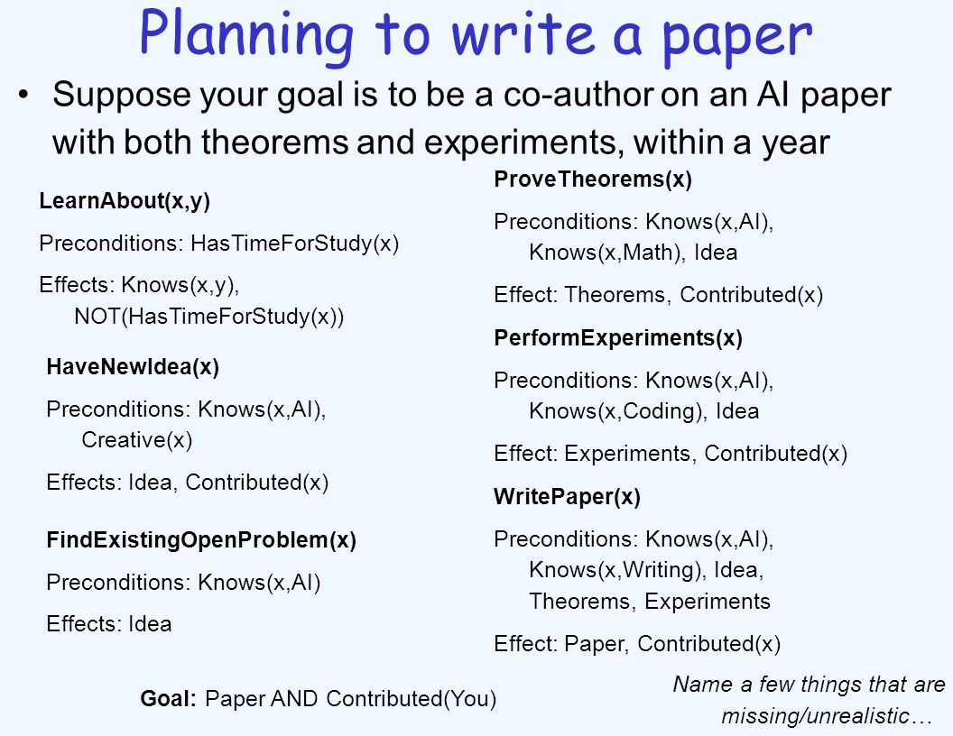 Planning to write a paper Suppose your goal is to be a co-author on an AI paper with both theorems and experiments, within a year LearnAbout(x,y) Prec