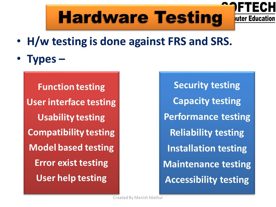Hardware Testing H/w testing is done against FRS and SRS. Types – Function testing User interface testing Usability testing Compatibility testing Mode