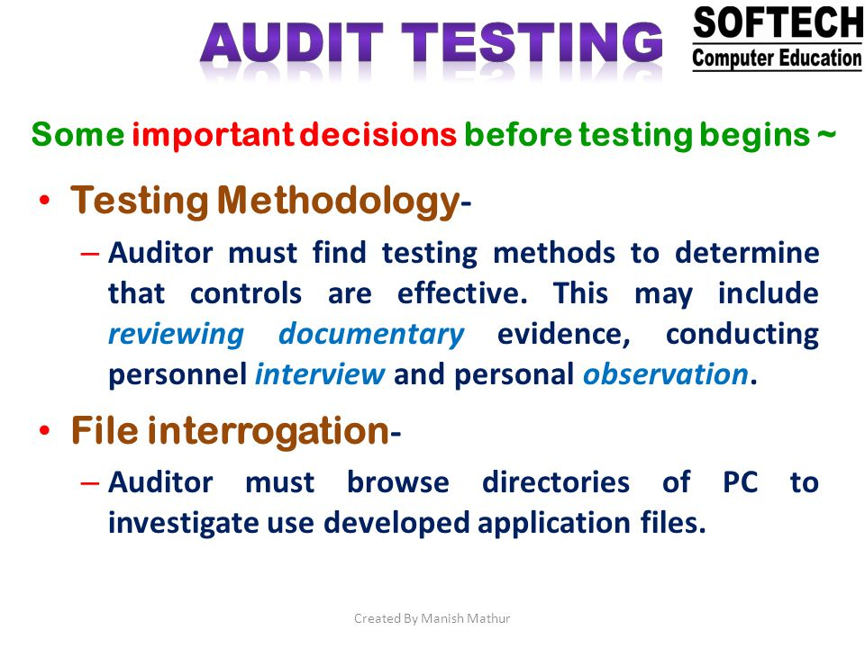 Test pack - – Auditor uses valid and invalid data to test the ability to prevent, detect, and correct errors.