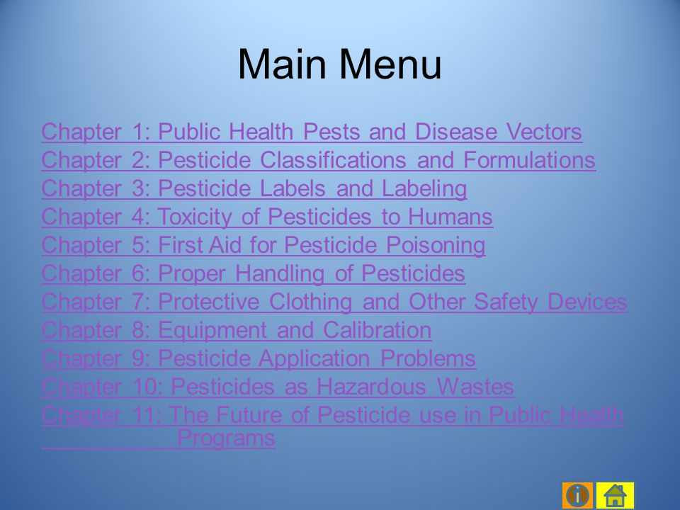 Introduction Classification of pesticides Herbicides Rodenticides Pesticide formulation Pesticide formulations with a combination of pesticides Chapter 2, slide 2/79 Chapter 2 Table of Contents