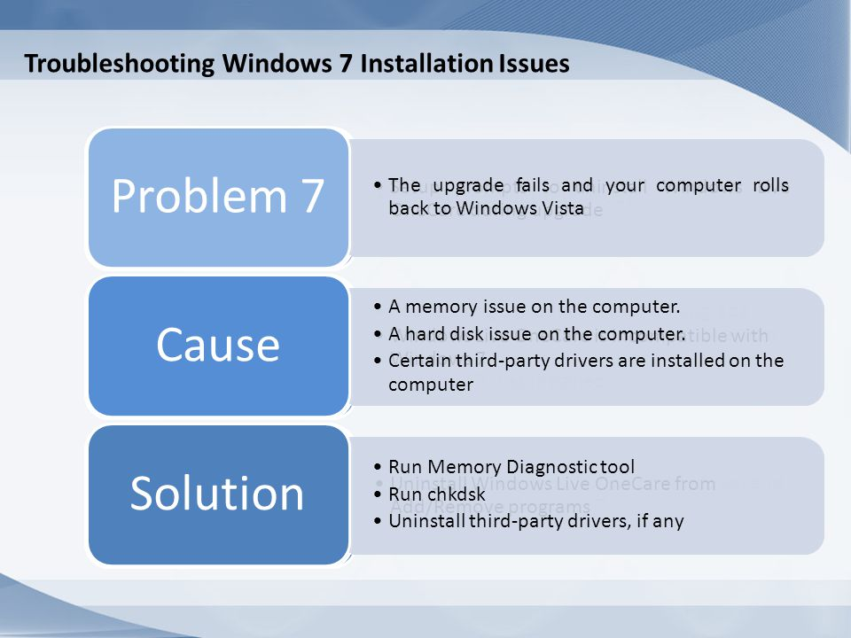 Windows 7 Repair Installation Windows 7 Repair Installation: Restores system files Is used to correct Windows 7 issues
