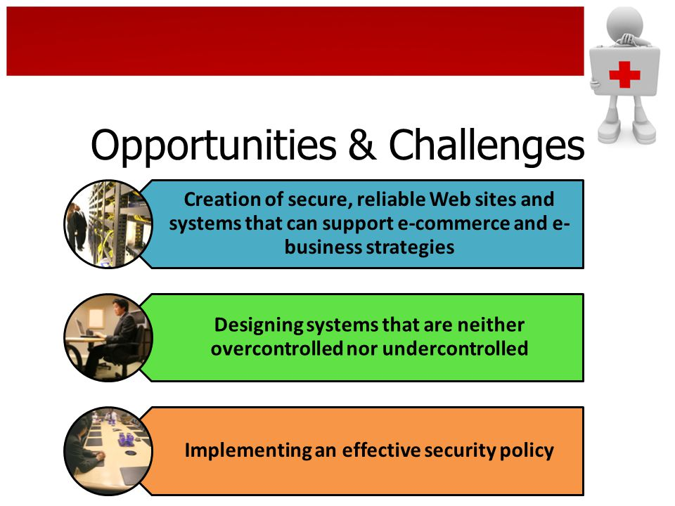 Opportunities & Challenges Creation of secure, reliable Web sites and systems that can support e-commerce and e- business strategies Designing systems that are neither overcontrolled nor undercontrolled Implementing an effective security policy