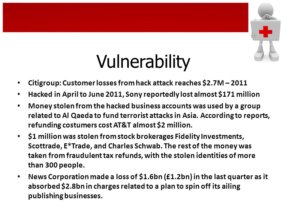 Vulnerability Citigroup: Customer losses from hack attack reaches $2.7M – 2011 Hacked in April to June 2011, Sony reportedly lost almost $171 million Money stolen from the hacked business accounts was used by a group related to Al Qaeda to fund terrorist attacks in Asia.