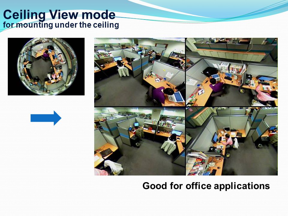 Ceiling View mode for mounting under the ceiling Good for office applications