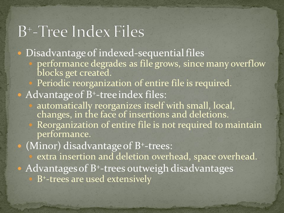 Disadvantage of indexed-sequential files performance degrades as file grows, since many overflow blocks get created. Periodic reorganization of entire