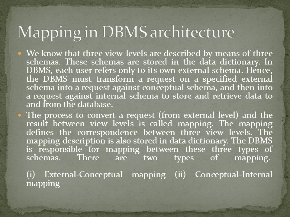 We know that three view-levels are described by means of three schemas. These schemas are stored in the data dictionary. In DBMS, each user refers onl