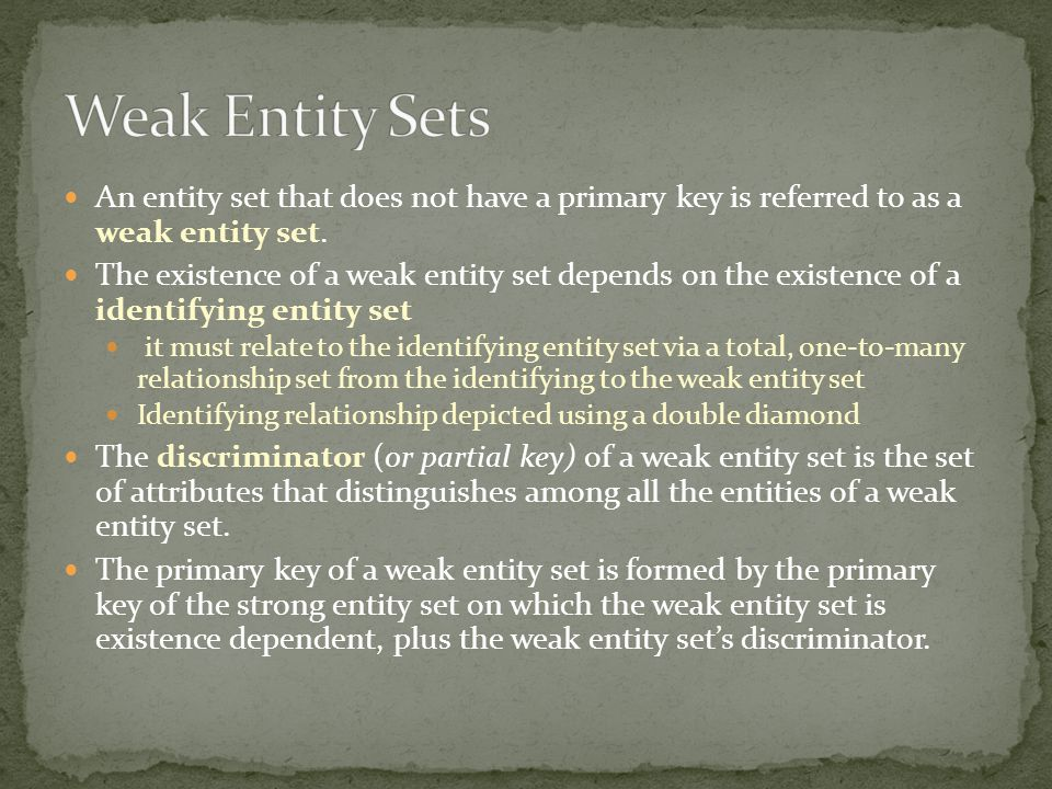 An entity set that does not have a primary key is referred to as a weak entity set. The existence of a weak entity set depends on the existence of a i