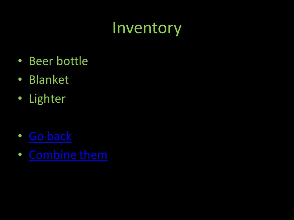Inventory Beer bottle Blanket Lighter Go back Combine them