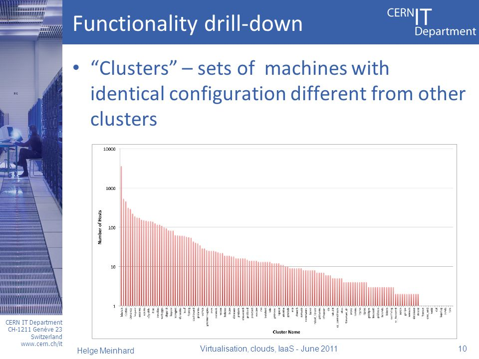 CERN IT Department CH-1211 Genève 23 Switzerland www.cern.ch/it Functionality drill-down Clusters – sets of machines with identical configuration different from other clusters Virtualisation, clouds, IaaS - June 2011 10 Helge Meinhard