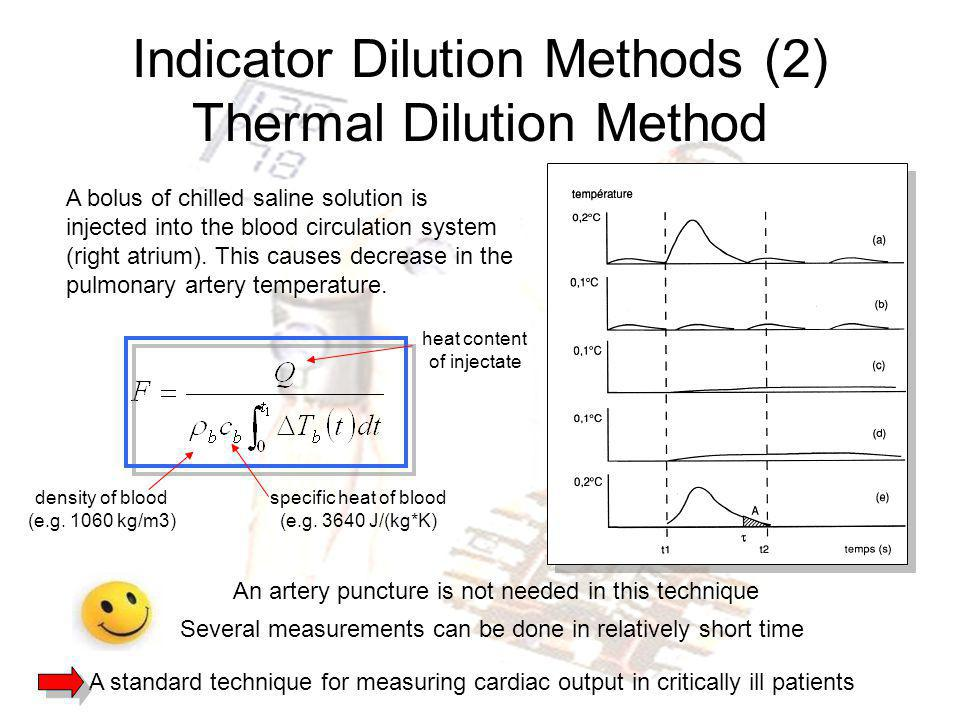 Indicator Dilution Methods (2) Thermal Dilution Method A bolus of chilled saline solution is injected into the blood circulation system (right atrium)