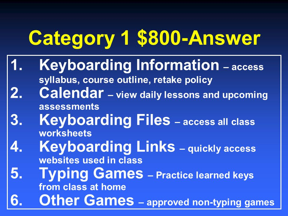 Category 1 $600-Answer 1.Get your folder 2.Login to your computer 3.Read/complete the warm up activity on the board 4.Setup your name tag
