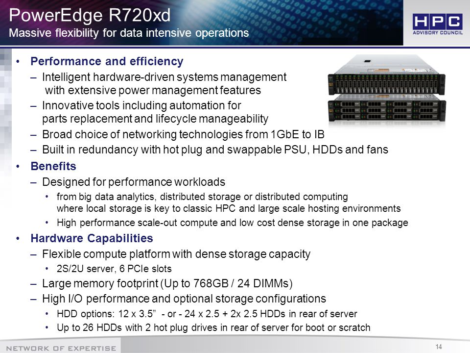 14 PowerEdge R720xd Massive flexibility for data intensive operations Performance and efficiency –Intelligent hardware-driven systems management with extensive power management features –Innovative tools including automation for parts replacement and lifecycle manageability –Broad choice of networking technologies from 1GbE to IB –Built in redundancy with hot plug and swappable PSU, HDDs and fans Benefits –Designed for performance workloads from big data analytics, distributed storage or distributed computing where local storage is key to classic HPC and large scale hosting environments High performance scale-out compute and low cost dense storage in one package Hardware Capabilities –Flexible compute platform with dense storage capacity 2S/2U server, 6 PCIe slots –Large memory footprint (Up to 768GB / 24 DIMMs) –High I/O performance and optional storage configurations HDD options: 12 x 3.5 - or - 24 x 2.5 + 2x 2.5 HDDs in rear of server Up to 26 HDDs with 2 hot plug drives in rear of server for boot or scratch