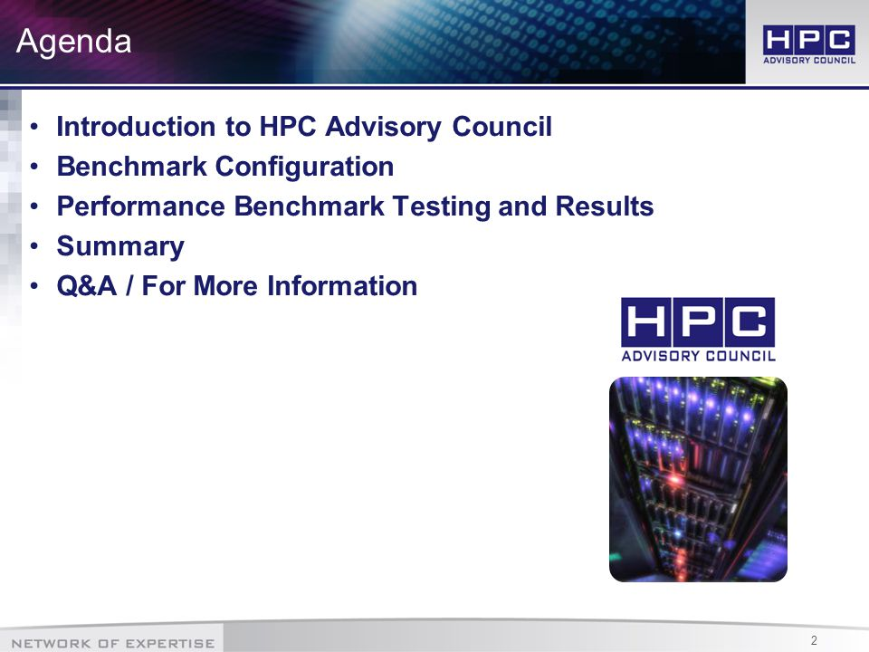 3 The HPC Advisory Council World-wide HPC organization (360+ members) Bridges the gap between HPC usage and its full potential Provides best practices and a support/development center Explores future technologies and future developments Working Groups – HPC|Cloud, HPC|Scale, HPC|GPU, HPC|Storage Leading edge solutions and technology demonstrations