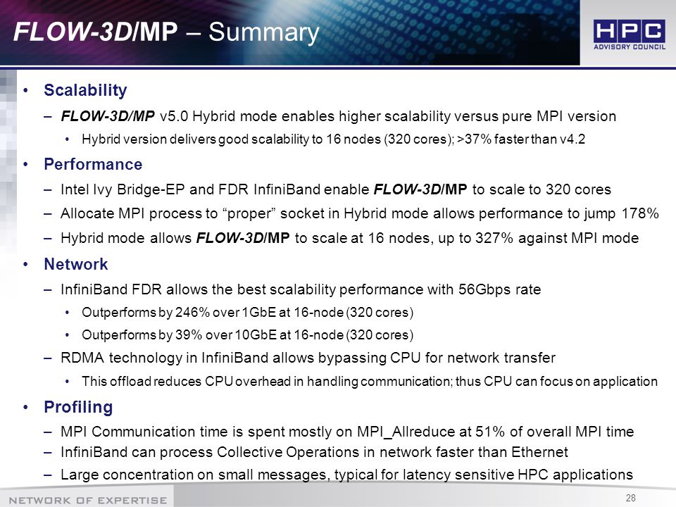 28 FLOW-3D/MP – Summary Scalability –FLOW-3D/MP v5.0 Hybrid mode enables higher scalability versus pure MPI version Hybrid version delivers good scalability to 16 nodes (320 cores); >37% faster than v4.2 Performance –Intel Ivy Bridge-EP and FDR InfiniBand enable FLOW-3D/MP to scale to 320 cores –Allocate MPI process to proper socket in Hybrid mode allows performance to jump 178% –Hybrid mode allows FLOW-3D/MP to scale at 16 nodes, up to 327% against MPI mode Network –InfiniBand FDR allows the best scalability performance with 56Gbps rate Outperforms by 246% over 1GbE at 16-node (320 cores) Outperforms by 39% over 10GbE at 16-node (320 cores) –RDMA technology in InfiniBand allows bypassing CPU for network transfer This offload reduces CPU overhead in handling communication; thus CPU can focus on application Profiling –MPI Communication time is spent mostly on MPI_Allreduce at 51% of overall MPI time –InfiniBand can process Collective Operations in network faster than Ethernet –Large concentration on small messages, typical for latency sensitive HPC applications