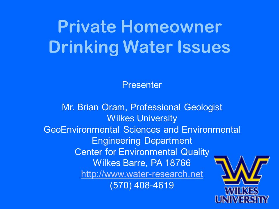 Private Homeowner Drinking Water Issues Presenter Mr.