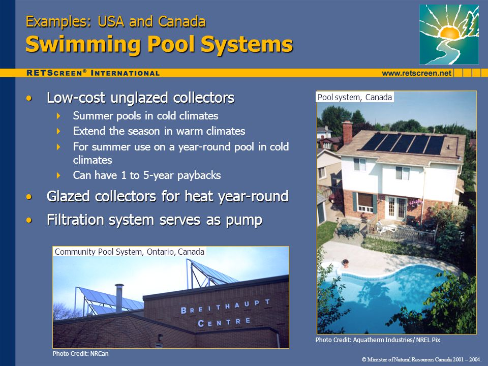 © Minister of Natural Resources Canada 2001 – 2004. Examples: USA and Canada Swimming Pool Systems Low-cost unglazed collectorsLow-cost unglazed colle