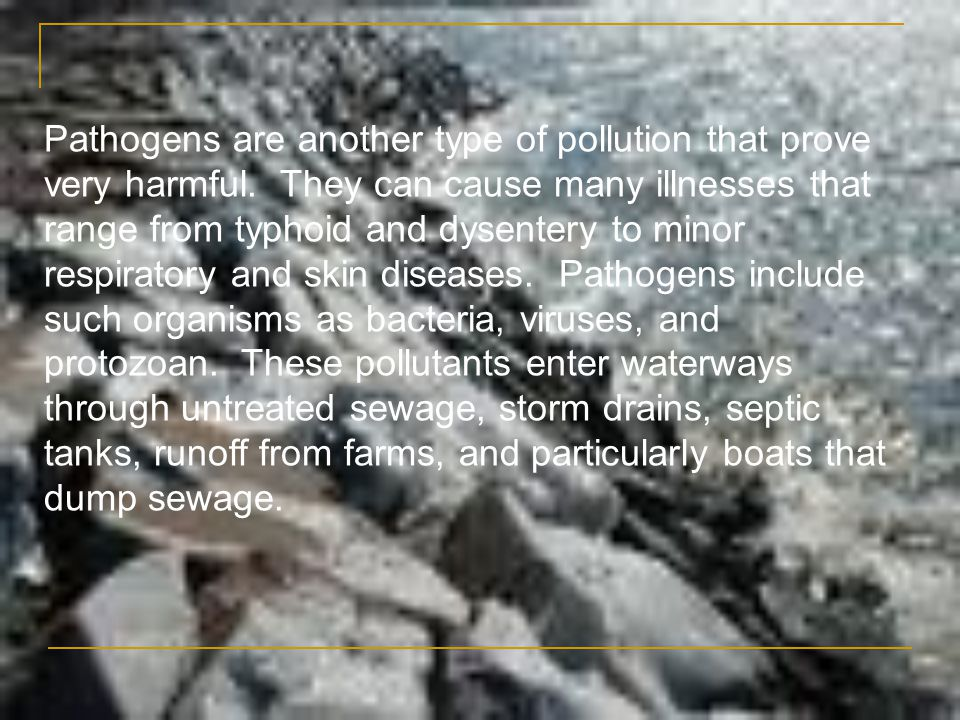 Pathogens are another type of pollution that prove very harmful. They can cause many illnesses that range from typhoid and dysentery to minor respirat