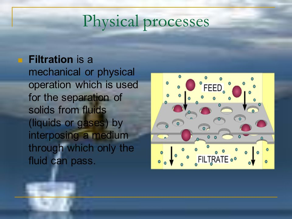Physical processes Filtration is a mechanical or physical operation which is used for the separation of solids from fluids (liquids or gases) by inter