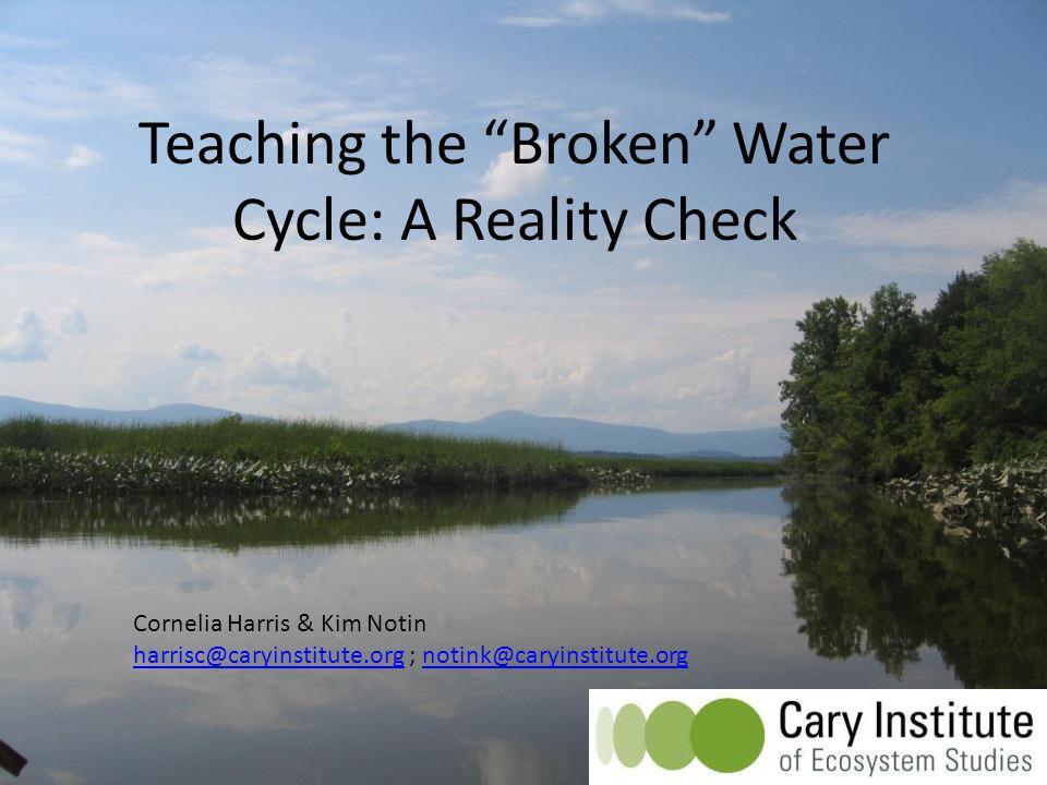 Teaching the Broken Water Cycle: A Reality Check Cornelia Harris & Kim Notin harrisc@caryinstitute.orgharrisc@caryinstitute.org ; notink@caryinstitute.orgnotink@caryinstitute.org