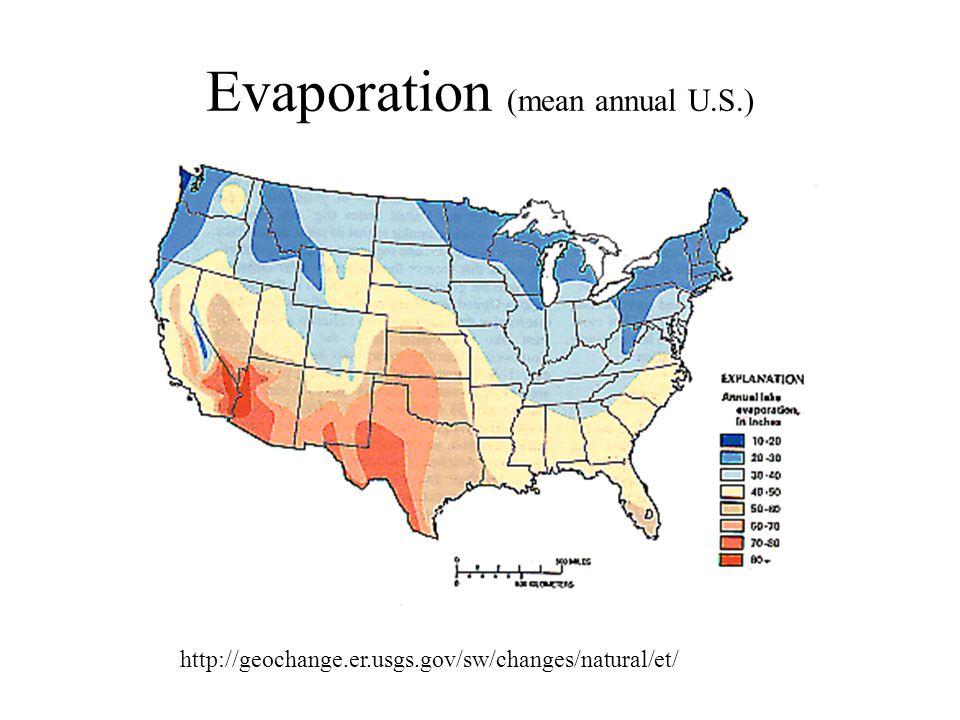 Evaporation (mean annual U.S.) http://geochange.er.usgs.gov/sw/changes/natural/et/