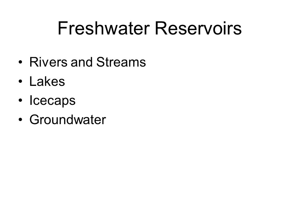 Freshwater Reservoirs Rivers and Streams Lakes Icecaps Groundwater