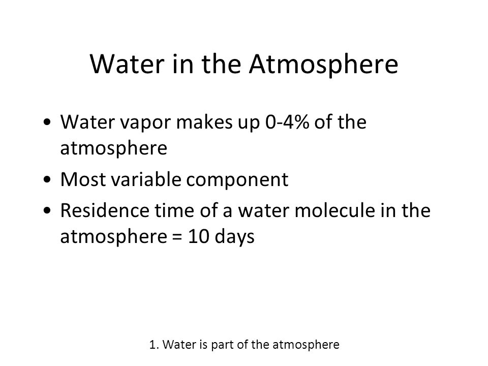 Water in the Atmosphere Water vapor makes up 0-4% of the atmosphere Most variable component Residence time of a water molecule in the atmosphere = 10