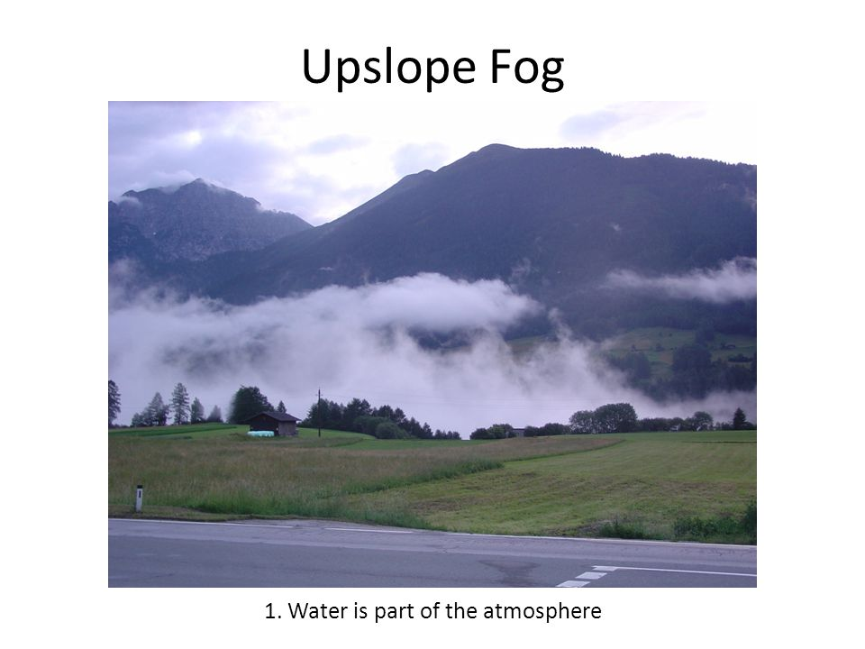 Upslope Fog 1. Water is part of the atmosphere