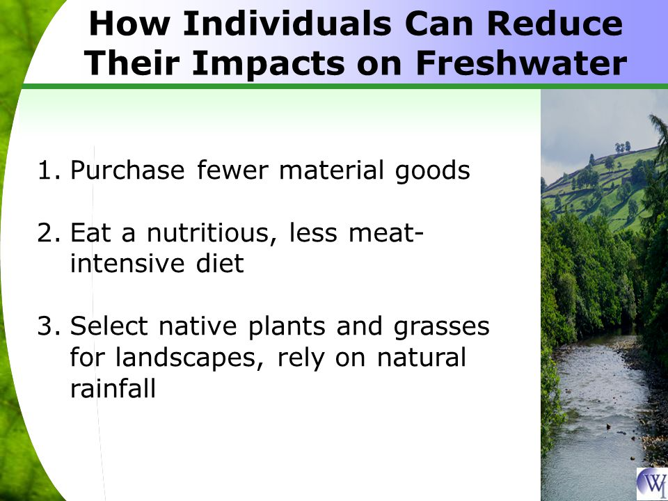 How Individuals Can Reduce Their Impacts on Freshwater 1.Purchase fewer material goods 2.Eat a nutritious, less meat- intensive diet 3.Select native plants and grasses for landscapes, rely on natural rainfall
