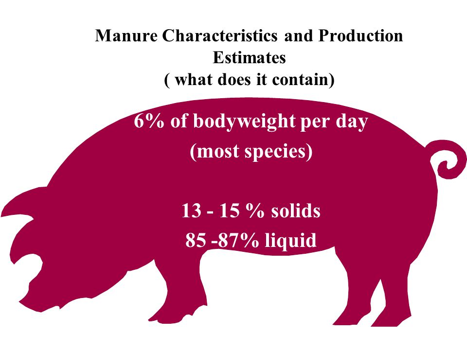 Manure Characteristics and Production Estimates ( what does it contain) 6% of bodyweight per day (most species) 13 - 15 % solids 85 -87% liquid