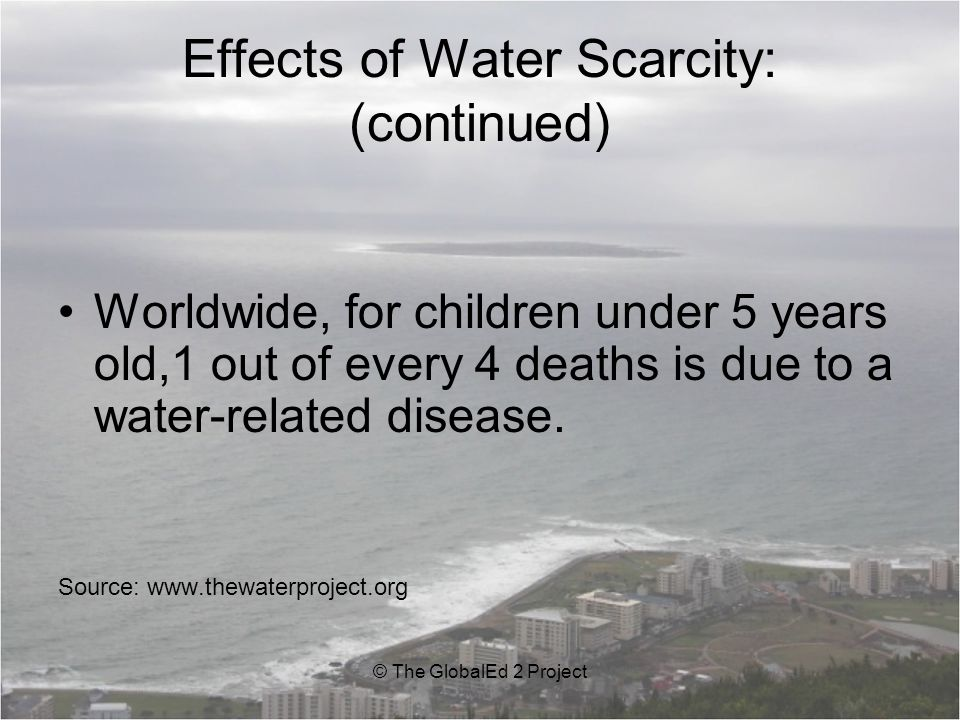The Effect of Water Scarcity on Children Over 1 billion young girls spend their day fetching and carrying water, rather than attending school Girls carry water in jugs weighing 20kg (~40lbs) on their heads for long periods of time, often developing spinal deformities © The GlobalEd 2 Project