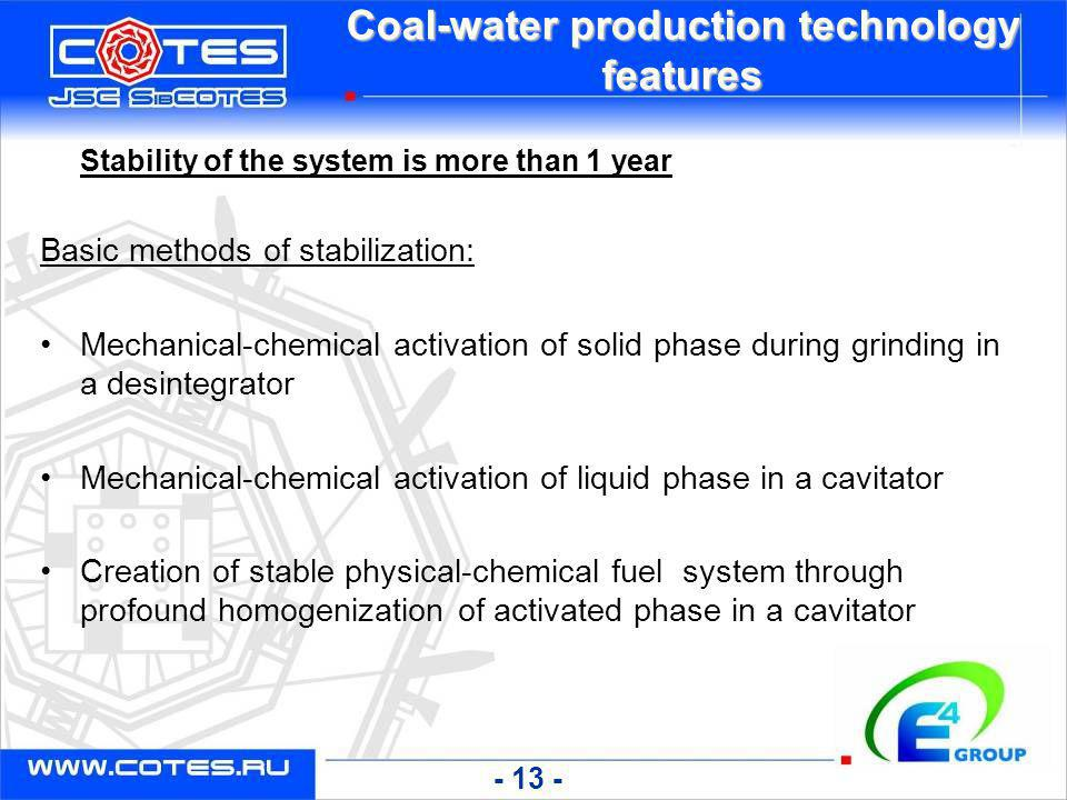 Coal-water production technology features Stability of the system is more than 1 year Basic methods of stabilization: Mechanical-chemical activation o