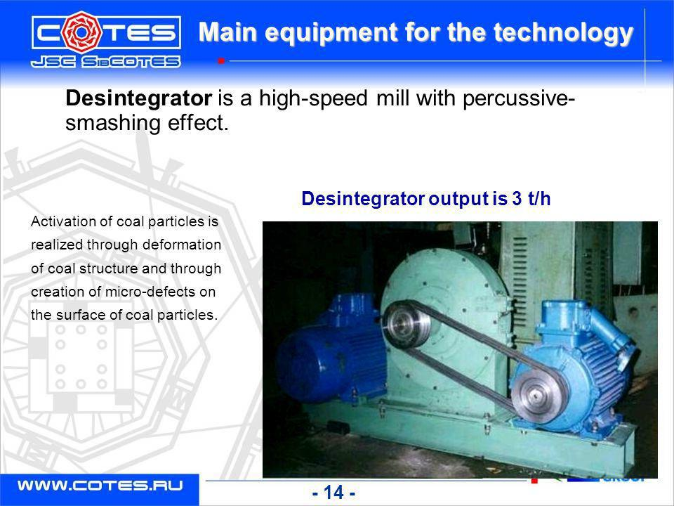 Main equipment for the technology Desintegrator output is 3 t/h Desintegrator is a high-speed mill with percussive- smashing effect. Activation of coa