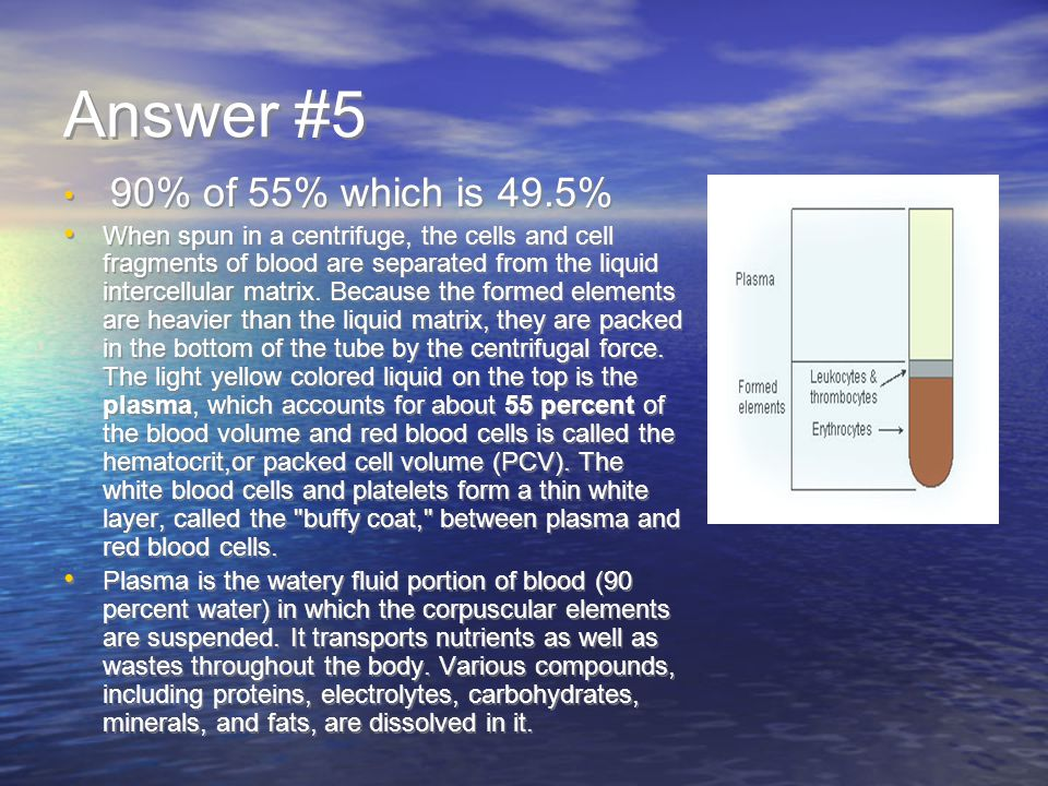 Answer #5 90% of 55% which is 49.5% When spun in a centrifuge, the cells and cell fragments of blood are separated from the liquid intercellular matrix.