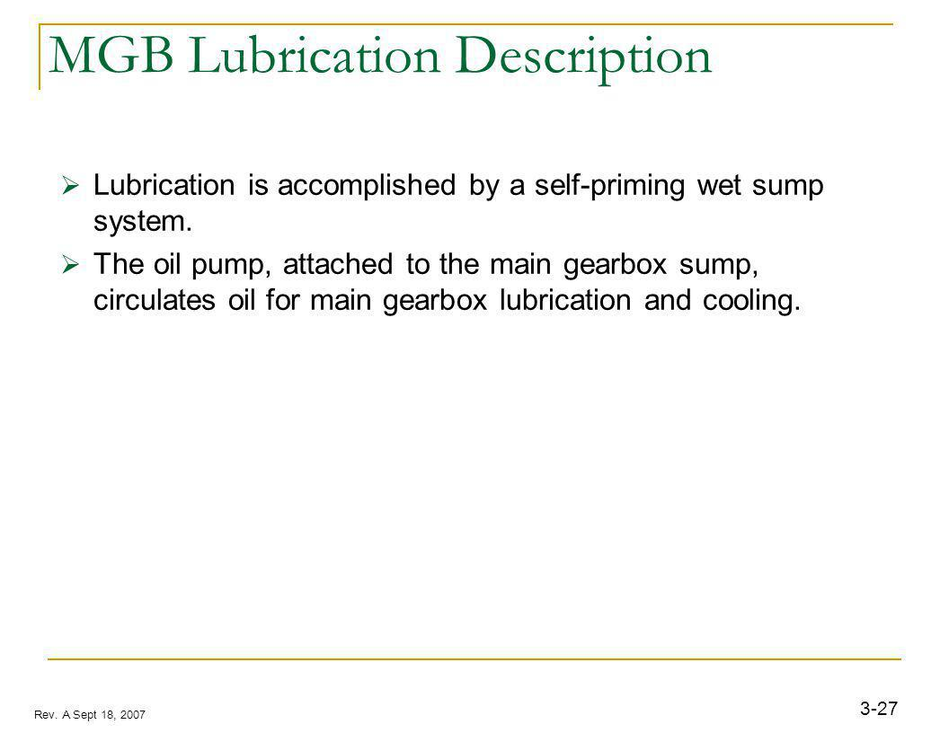 3-27 Rev. A Sept 18, 2007 MGB Lubrication Description Lubrication is accomplished by a self-priming wet sump system. The oil pump, attached to the mai