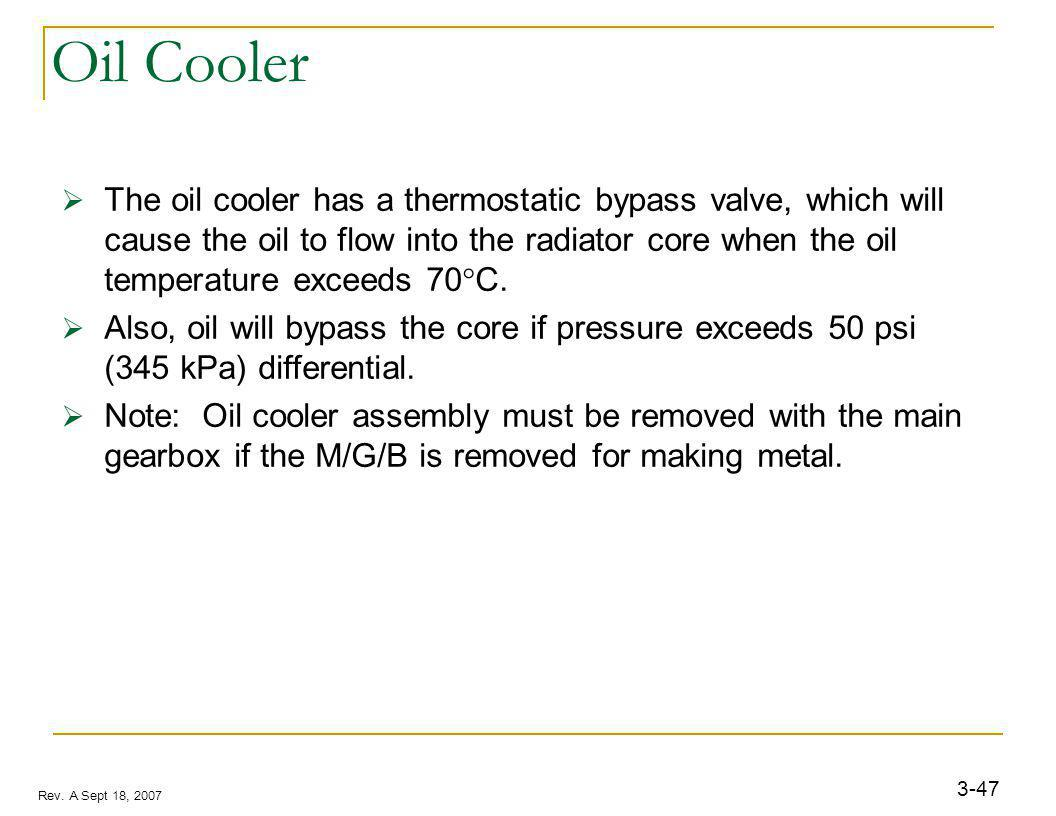 3-47 Rev. A Sept 18, 2007 Oil Cooler The oil cooler has a thermostatic bypass valve, which will cause the oil to flow into the radiator core when the