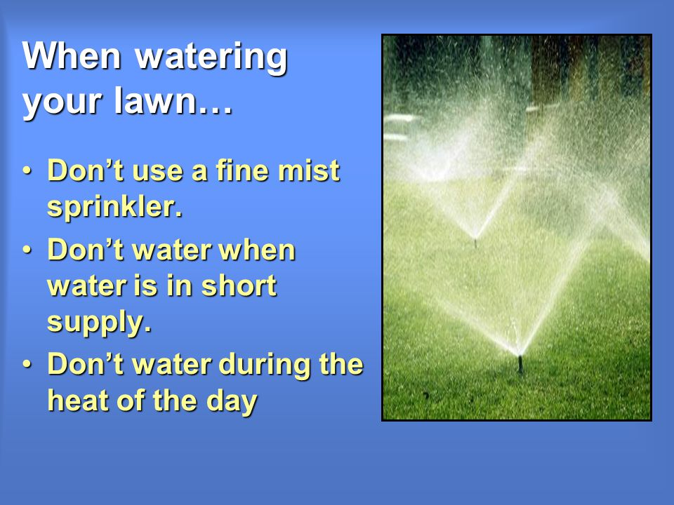When watering your lawn… Dont use a fine mist sprinkler.Dont use a fine mist sprinkler.