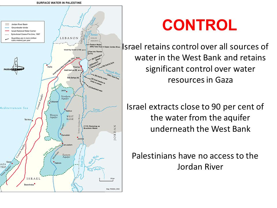 Israel retains control over all sources of water in the West Bank and retains significant control over water resources in Gaza Israel extracts close t