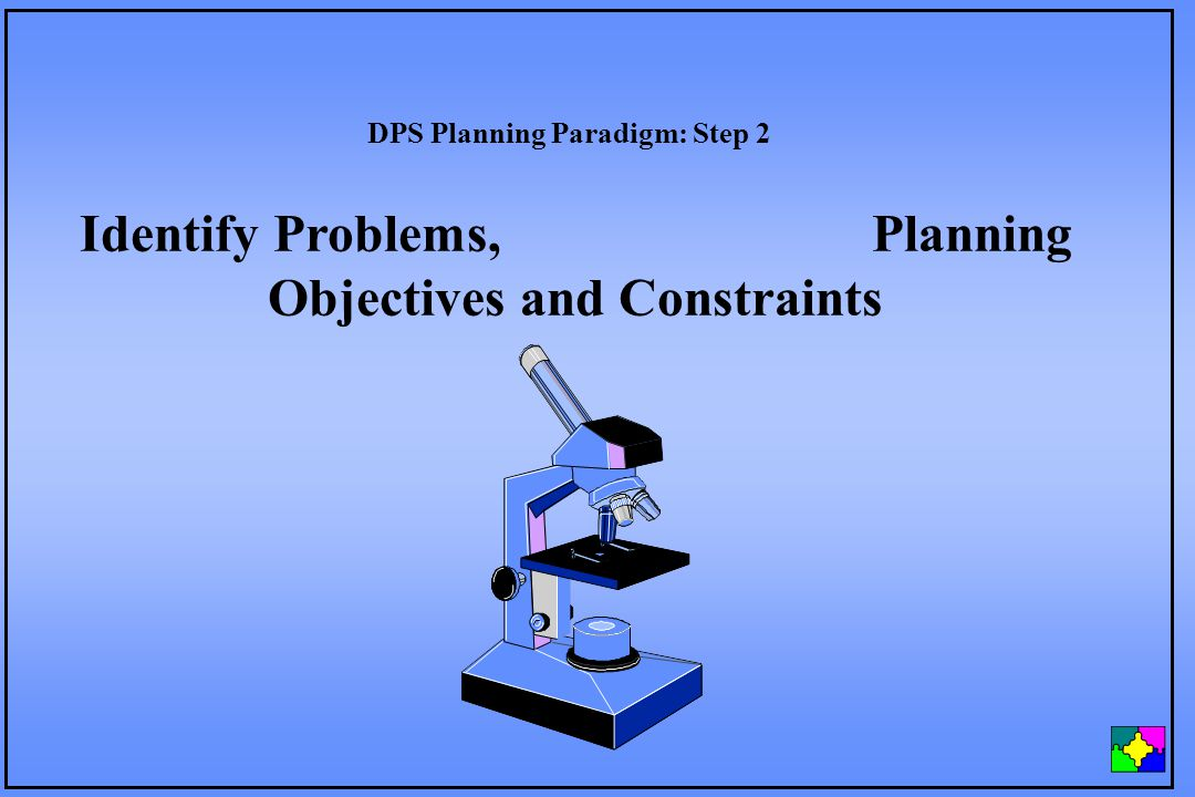 Identify Problems, Planning Objectives and Constraints DPS Planning Paradigm: Step 2