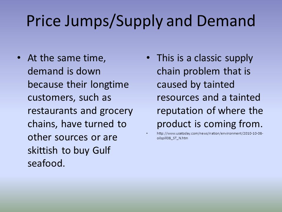 Price Jumps/Supply and Demand At the same time, demand is down because their longtime customers, such as restaurants and grocery chains, have turned to other sources or are skittish to buy Gulf seafood.