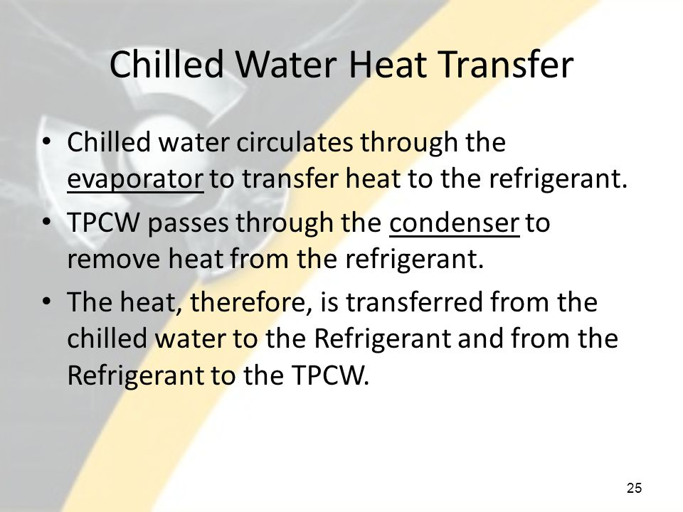 Chilled Water Heat Transfer Chilled water circulates through the evaporator to transfer heat to the refrigerant.