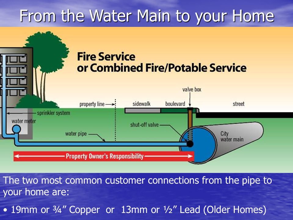 From the Water Main to your Home The two most common customer connections from the pipe to your home are: 19mm or ¾ Copper or 13mm or ½ Lead (Older Homes)