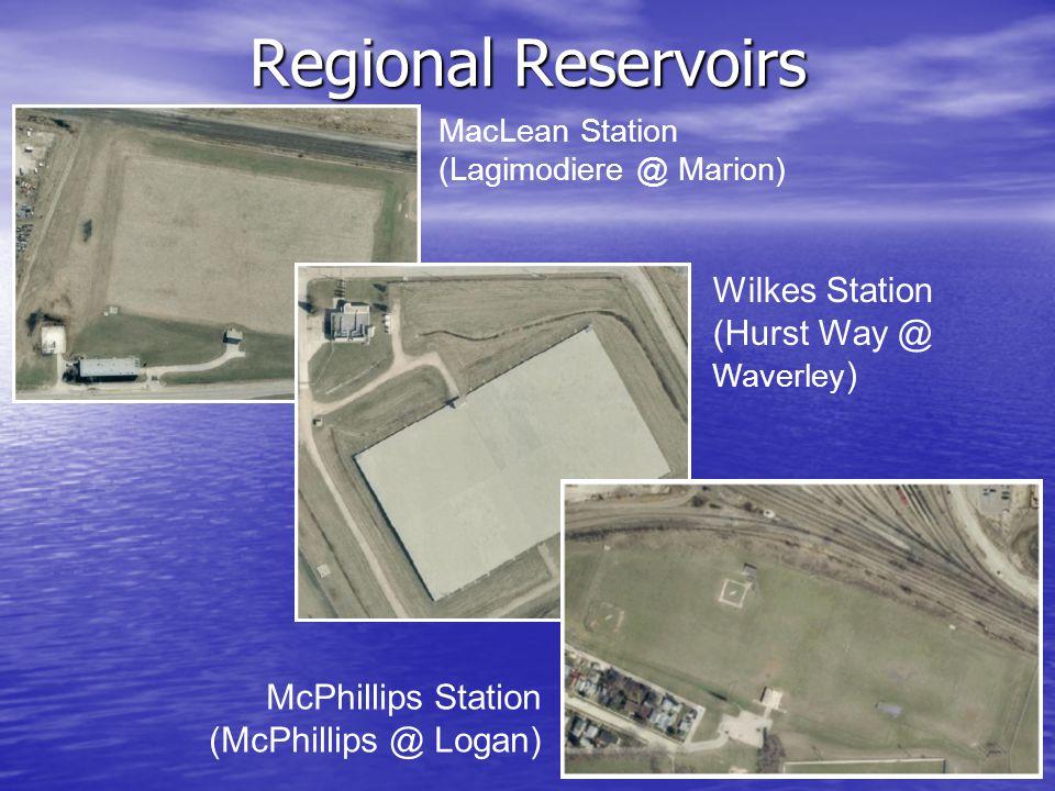 Regional Reservoirs MacLean Station (Lagimodiere @ Marion) Wilkes Station (Hurst Way @ Waverley ) McPhillips Station (McPhillips @ Logan)