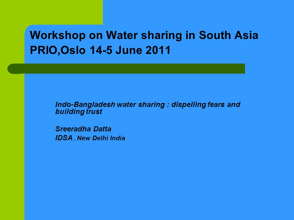 Indian domestic imperatives Presently Bangladesh has proposed water sharing on a 50-50 basis at Gazoldoba however, water falls under the state subject in India.